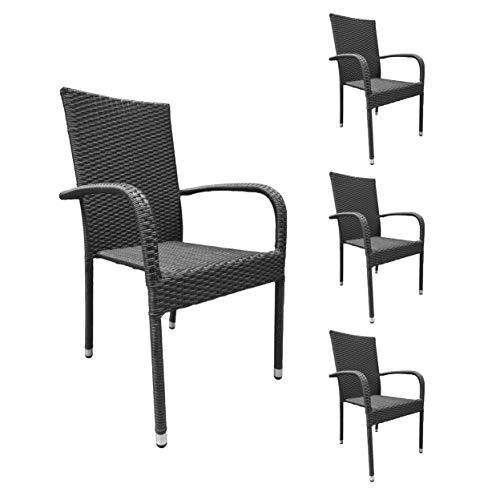 Terrasse, Stapelbar (4er Set Stapelstühle Armlehnstühle Gartenstühle grau-meliert mit Armlehnen exkl. Auflage stapelbar für Garten, Terrasse, Balkon oder Bistro - Gartenmöbel Stühle Terrassenstuhl Balkonstuhl Stuhl Gastro)