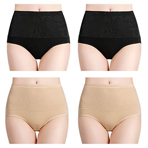wirarpa Bragas Faja Talle Alto Algodón para Mujer Cómodo elástico Braga Reductoras Pantalones de Mujer Pack de 4 Negro, Beige Tamaño S