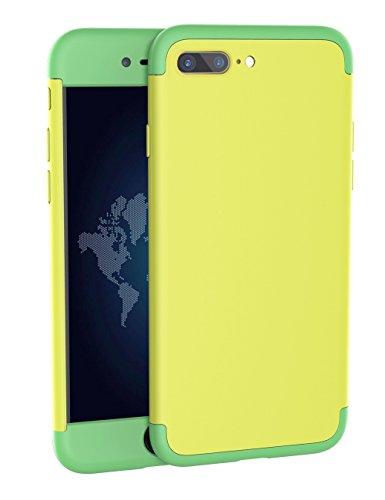 iPhone 7Plus Fall, Jiban [360Grad Full Schutz Serie] 3in 1Slim Hard Kunststoff Fall Kontrastfarbe Design Phone Cover für iPhone 7plus [14cm], Gelb/Grün