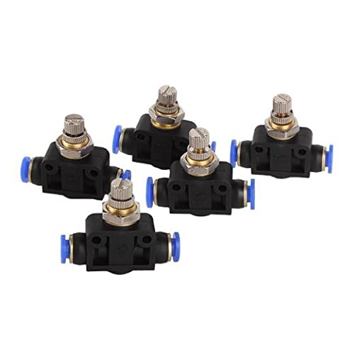 DN 6mm Push In Speed Controller Pneumatic Air Valves Rapid Connection Design (Pack Of 5)