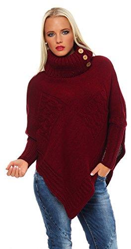 Mississhop Poncho Strick Sweatshirt Pullover Umhang Überwurf Einheitsgröße 36 38 40 S M L 11 Farben, Bordo, S/M/L 36/38/40
