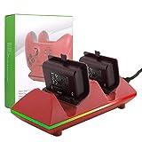 MoKo Xbox One X / Xbox One / Xbox One S / Xbox One Elite Controller Ladegerät Dock Kit [Dual Charger Station], mit Dual 800mAh Akku-Packs - Rot