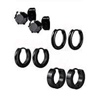 4 Pairs 4 Styles Stainless Steel Round Hoop Earrings CZ Stud Earrings Ear Piercing for Men and Women, 18 Gauge (Black)