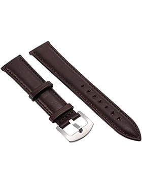 20mm Unisex Kaffee Genuine Leder Uhrenarmband Uhrenarmbaender Uhrband Watch Band Watch Strap mit Edelstahlschliesse