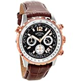 Rotary GS0020004 Mens Rose Gold Brown Leather Strap Chronograph Wrist Watch