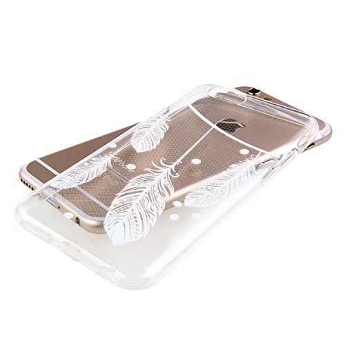 iPhone 6S Hülle, iPhone 6 Hülle, iPhone 6 / 6S Silikon Crystal Case Hülle mit Malerei Muster, SainCat Weiche Transparent Silikon Schutzhülle Hülle Gel Bumper Soft TPU Case Backcase Weiches Crystal Cle Vier Federn
