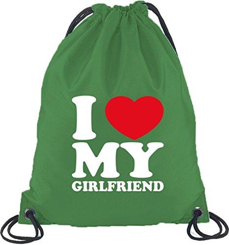 Shirtstreet24, I LOVE MY GIRLFRIEND, Valentinstag Turnbeutel Rucksack Sport Beutel Kelly Green