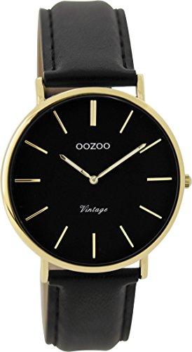 Oozoo Vintage Damenuhr Lederband 36 MM Goldfarben/Schwarz/Schwarz C9301