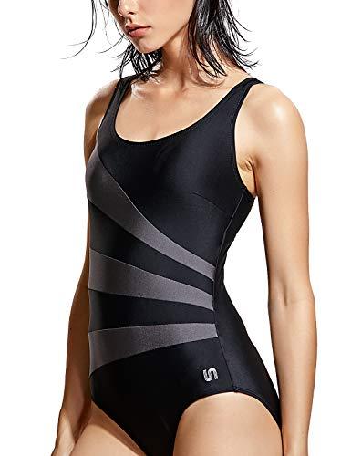 SYROKAN Damen Sport Badeanzug Shape mit Cups Einteiler Bademode Schwimmanzug Schwarz 40 inch (Bh-cups Badeanzug)
