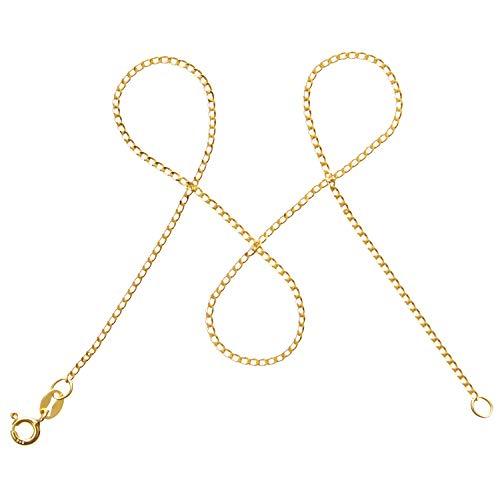 modabilé Damen Panzerkette Vergoldet aus 925er Silber (45cm I 1,3mm breit) I Silberkette 925 ohne Anhänger I Zarte Halskette für Frauen I Goldene Kette + Etui I Goldkette Produziert in Europa