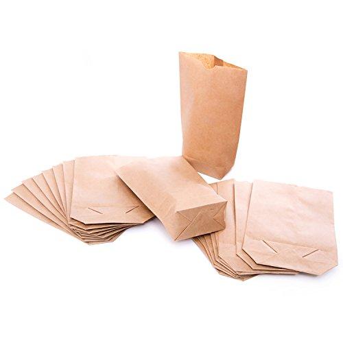 1a Qualität 25 kleine braune bio Papierbeutel Papiertüten Tüten Boden 14 x 22 x 5,6 cm Kaftpapier Geschenktüten Kreuzbodenbeutel Bodenbeutel natur Obstbeutel Verpackung