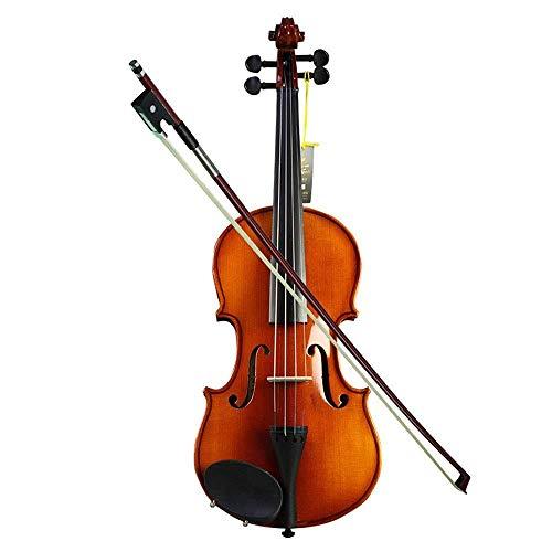 AxinStudent violino set fatto a mano acustico violino pannello abete 4 corde strumento con scatola rigida arco colofonia panno di pulizia finitura liscia per principianti 1/10_Wood