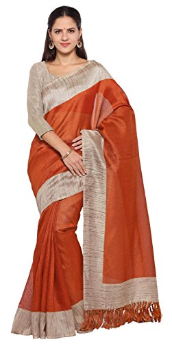 Rajnandini Women's Tussar Silk Plain Saree (Rust)