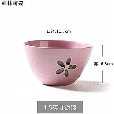 Il riso ciotole di riso bocce di piccole , in ceramica per usi domestici ciotola per mangiare il riso bocce , , Singola ,11,5*6,5 cm rosa