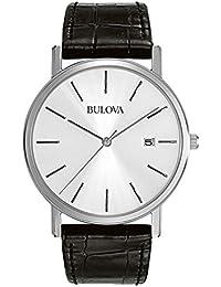 Bulova Classic 96B104 - Montre-bracelet de créateur pour homme - élégante - acier/bracelet en cuir - noir