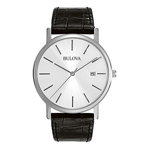 Bulova Classic 96B104 - Herren Designer-Armbanduhr aus Stahl - Armband aus Leder - Elegantes Design - Schwarz (Bulova Schwarz Uhren Für Männer)