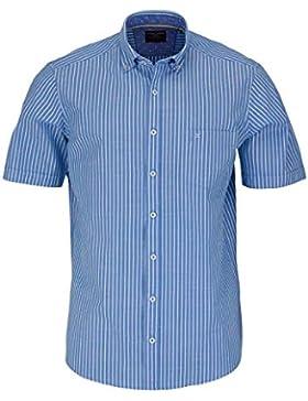 CASAMODA Comfort Fit Hemd Halbarm mit Besatz Streifen mittelblau