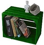 LAUBLUST Große Vintage Holzkiste - 40x30x25cm, Grün Lackiert, Unbenutzt | Möbel-Kiste | Wein-Kiste | Obst-Kiste | Apfel-Kiste | Deko-Kiste aus Holz