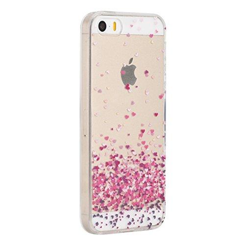 Etsue Coque pour Apple iPhone 6/6S 4.7,TPU Silicone Etui Case Cover pour Apple iPhone 6/6S 4.7,Haute Qualité Transparent Clair Soft Gel pour Apple iPhone 6/6S 4.7,Coloré Fleur Montre Campanula Motif S Cœur Rose