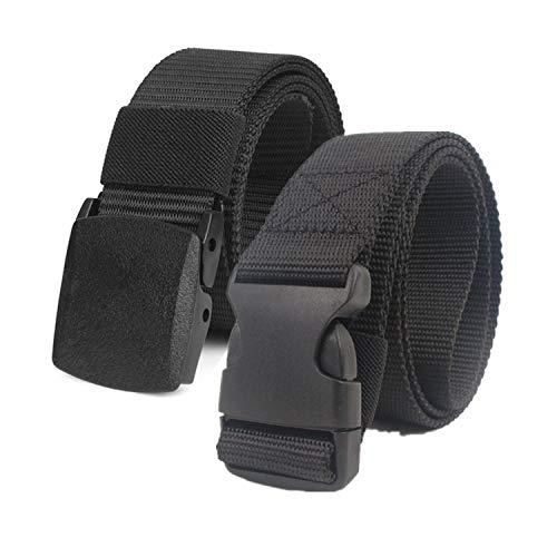 Chalier Cinturón Táctico Militar Ajustable Cintura Hombres Lona Nylon Hebilla Plástica (Negro y Negro-1)
