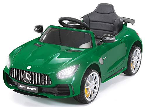 *Actionbikes Motors Kinder Elektroauto Mercedes Amg GT-R – lizenziert – 2 x 25 Watt Motor – Ledersitz – Eva Reifen – Softstart – Kinderauto (Grün)*