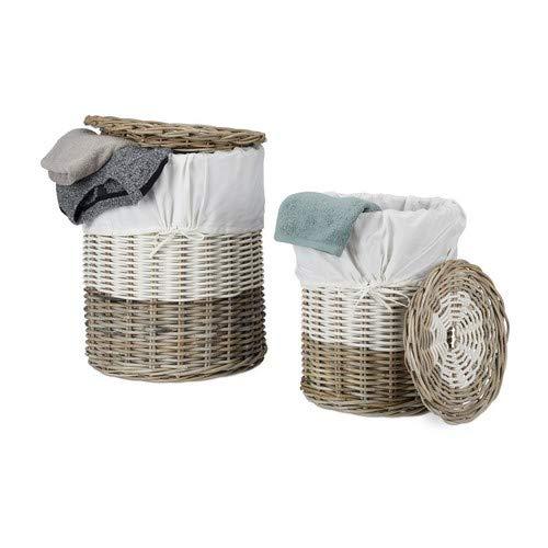 Relaxdays 10021501_186 set 2 cesti portabiancheria tondo rattan intrecciato coperchio rimovibile stoffa bianca 30 & 60 l beige bianco