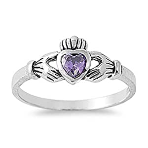 925 Silver Cubic Zirconia Ring Claddagh Ring