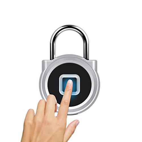 Fingerabdruck Vorhängeschloss Bluetooth Biometrisches Fingerabdrucksperre Schloss USB Ladung IP65 Wasserdicht für den Außenbereich Diebstahlsicherung Sicherheitsschloss (Silber)
