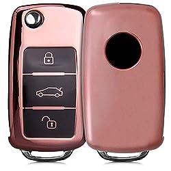 kwmobile Autoschlüssel Hülle für VW Skoda Seat - TPU Schutzhülle Schlüsselhülle Cover für VW Skoda Seat 3-Tasten Autoschlüssel Hochglanz Rosegold