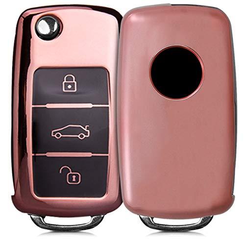 kwmobile Autoschlüssel Hülle für VW Skoda Seat - TPU Schutzhülle Schlüsselhülle Cover für VW Skoda Seat 3-Tasten Autoschlüssel Hochglanz Rosegold (Cover Auto Seat)
