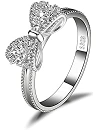0a22b7c664c JewelryPalace Bow Cubic Zirconia Anniversary Wedding Ring 925 Sterling  Silver