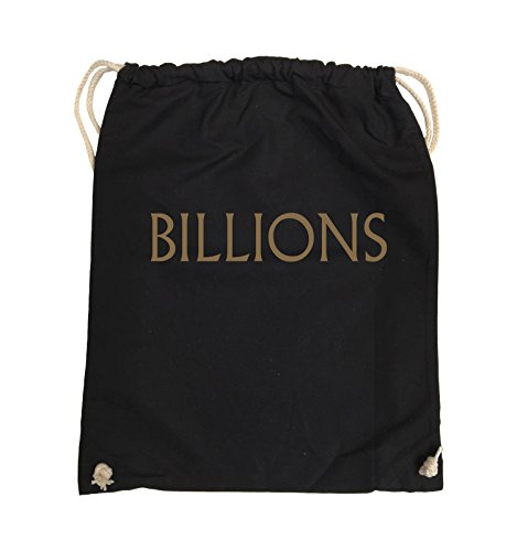 Comedy Bags - BILLIONS - LOGO - Turnbeutel - 37x46cm - Farbe: Schwarz / Silber Schwarz / Hellbraun