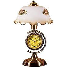 ZHIYUAN Estudio dormitorio cabecera lámpara/creative vidrio retro Reloj sobremesa
