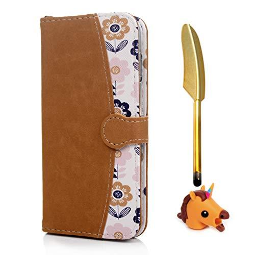 Handyhülle Kompatibel für iPhone 8 Plus 7 Plus 6s Plus 6 Plus Schutzhülle, Klapp PU Ledertasche mit Tier Kabelschutz Stift, Zweifarbig Flip Case (Orange) mit Kartenetui Magnetverschluss Ständer