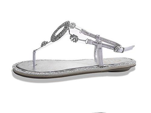 Donna Boemia Sandali Con Perline Strass Clip Toe Infradito Piatti Scarpe Sandali Argento