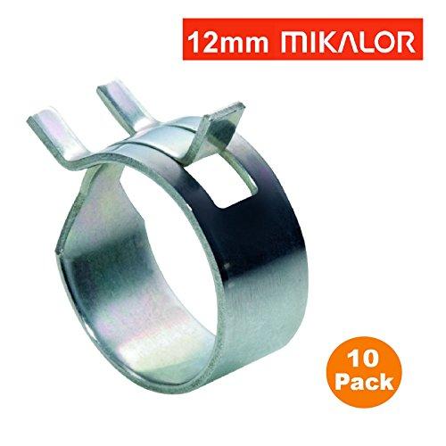 10 x 12mm Mikalor W1 selbst Klemmfeder Schlauch Clips Silikon Rohr Luft-Kraftstoff-Band - X 12 Luft
