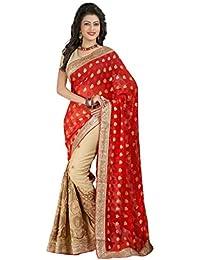 Sharnam Sarees Saree (Vedika_Red_Chiku_Multicolour)