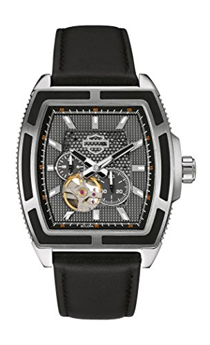 Harley Davidson Men's Automatic Watch with Grey Dial Analogue Display and Black Leather Strap 76A150