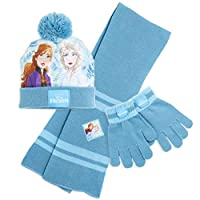 Disney Girls Hat Scarf and Gloves Set, Winter Hats For Kids With Frozen 2 Anna And Elsa, Warm Comfortable Bobble Hat Set, Great Stocking Fillers and Christmas Presents For Girls Age 4 5 6 7 8+