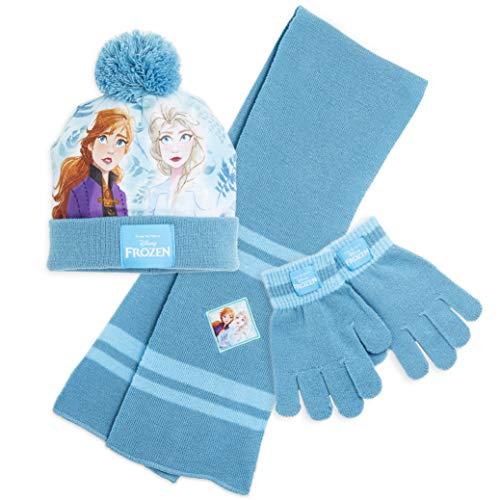 Disney Mädchen Mütze, Schal und Handschuhe Set, Wintermützen für Kinder mit Anna und Elsa, warm, bequem, Bommelmütze, tolle Strumpffüller und Weihnachtsgeschenk für Mädchen im Alter von 4 5 6 7 8 +