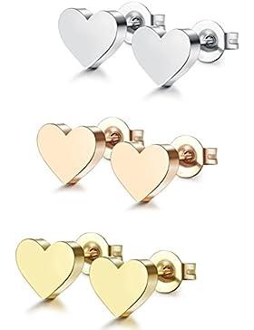 Jstyle 3 Paare Edelstahl Herz Ohrstecker Rosegold Weiß und Gelbe für Mädchen Frauen