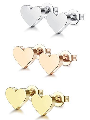 a90118e6c262 ... Acero Inoxidable 3 Pares 20G Pendientes Corazon Plata Dorado y Oro Rosa  para Mujer Niña. ¡Oferta! 🔍. On Sale