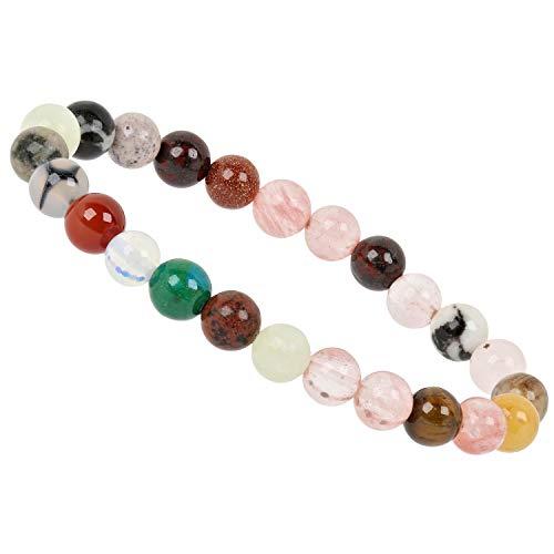 PowerBead Edelstein Perlen Armband mit Multi Color für Damen und Herren