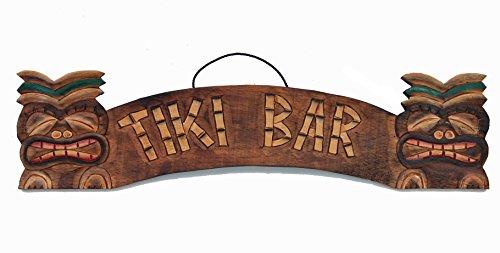 Schild aus Holz in 55cm Größe mit Tiki Bar Aufschrift Holzschild Tiki Hawaii (Tiki Hawaii Bar)