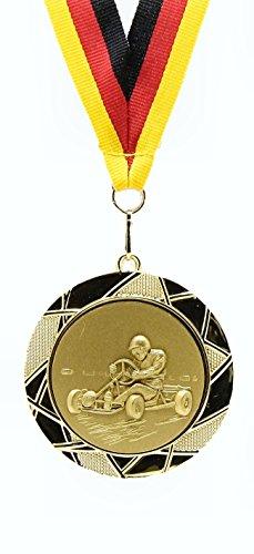 Medaille-D70mm-3D-Go-Kart-inkl-22mm-Band-Goldfarbig-10-Stck