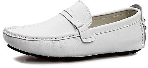 Odema Homme Confort Conduire Casual PU à enfiler mocassin Flâneur Chaussures Blanc