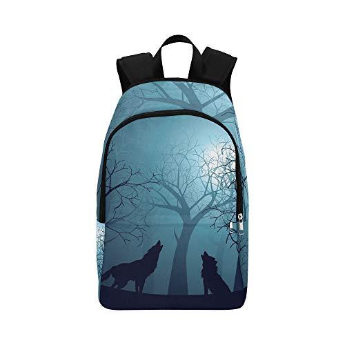 Silhouette Wolf Howling Moon Forest Night lässig Daypack Reisetasche College School Rucksack für Herren und Frauen