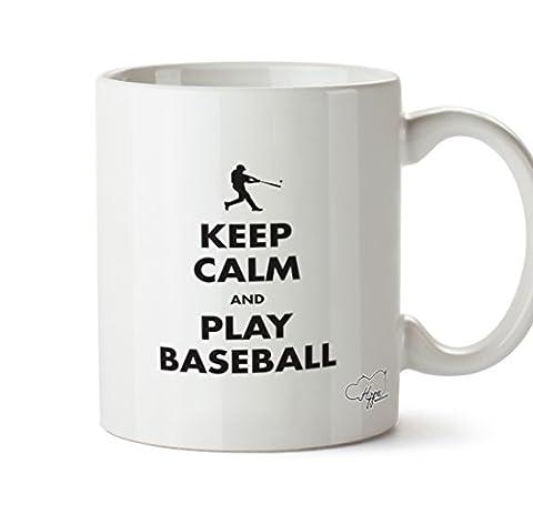 Hippowarehouse Keep Calm et de jeu de baseball 283,5gram Mug Cup, Céramique, blanc, One Size (10oz)