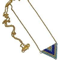 Collana giapponese perle blu verde oro triangolo tessitura chevron catena acciaio inox regali personalizzati Natale amici compleanno matrimonio cerimonia di nozze giorno della madre coppie