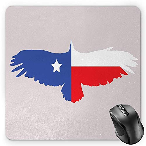 BGLKCS Texas Star Mauspads Mouse Pad, Bald Eagle Silhouette with Lone Star Wings of Freedom Animal, Standard Size Rectangle Non-Slip Rubber Mousepad, Violet Blue Vermilion - Blue Eagle Wings